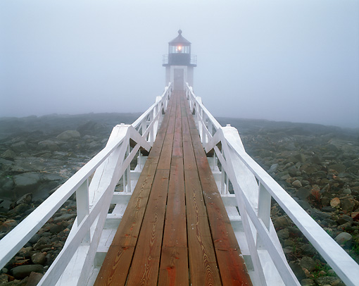 LAN 07 GR0064 01 © Kimball Stock Marshall Point Lighthouse In Fog During Summer At Fort Clyde, Maine
