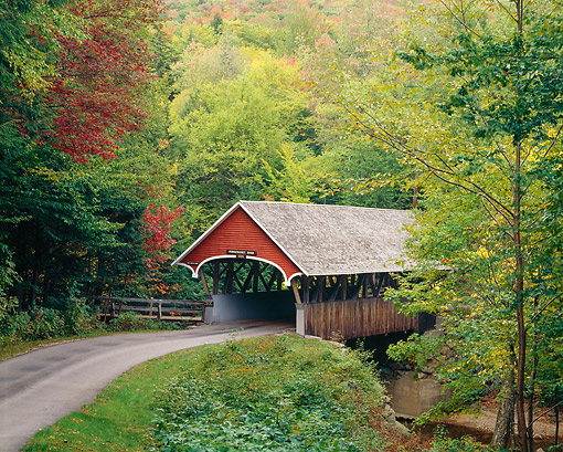 LAN 07 GR0130 01 © Kimball Stock Covered Bridge In Franconia Notch State Park, New Hampshire