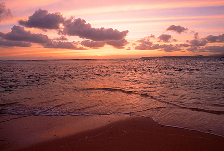 LAN 07 MR0024 01 © Kimball Stock Beach Scene At Sunset North Shore Kauai, Hawaii