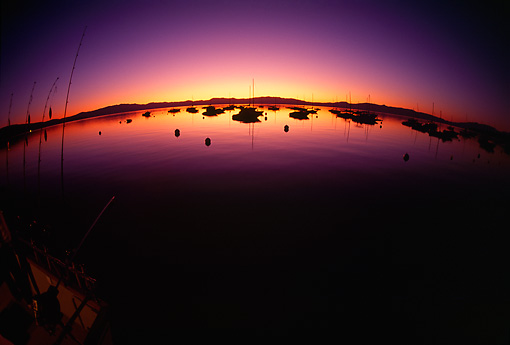 LAN 07 RK0144 05 © Kimball Stock Sunset By Water Fisheye View  Lake Tahoe