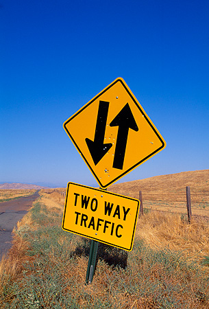 LAN 07 RK0150 03 © Kimball Stock Two Way Traffic Sign Off Road Blue Sky