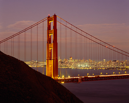 LAN 07 RK0155 08 © Kimball Stock San Francisco Golden Gate Bridge At Dusk City Lights