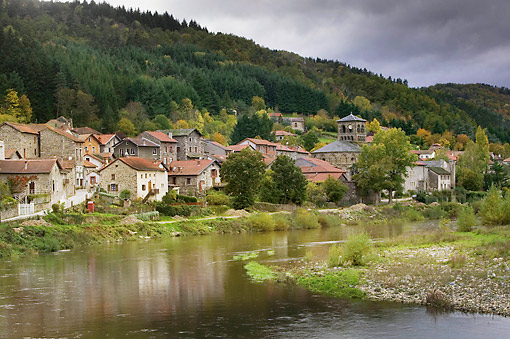 LAN 08 JE0023 01 © Kimball Stock Chamaliere Village In Haute-Loire Valley, France