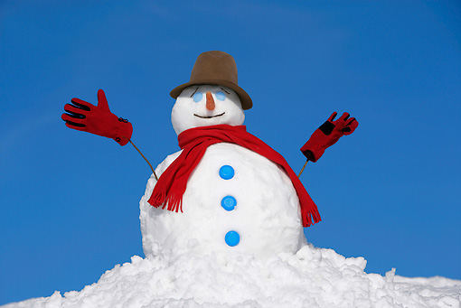 LAN 08 KH0022 01 © Kimball Stock Snowman Wearing Red Scarf, Gloves And Top Hat