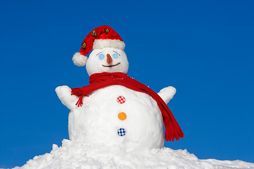 LAN 08 KH0023 01 © Kimball Stock Snowman Wearing Red Scarf And Santa Hat