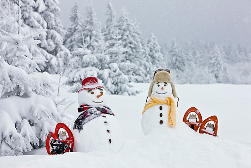 LAN 08 KH0047 01 © Kimball Stock Two Snowmen With Rackets On Edge Of Snowy Fir Forest
