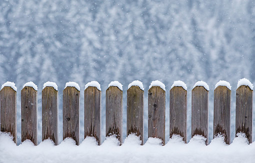 LAN 08 KH0125 01 © Kimball Stock Fence In Snow During Winter