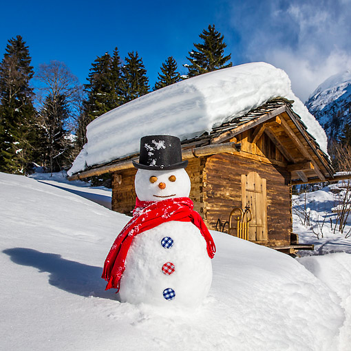 LAN 08 KH0129 01 © Kimball Stock Snowman By Wood Cabin