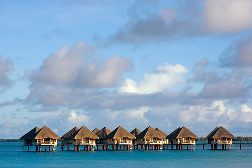 LAN 09 KH0026 01 © Kimball Stock Bungalows On Water Bora Bora
