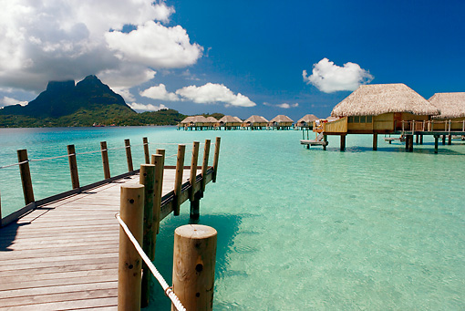 LAN 09 KH0027 01 © Kimball Stock Dock And Bungalows On Water Bora Bora