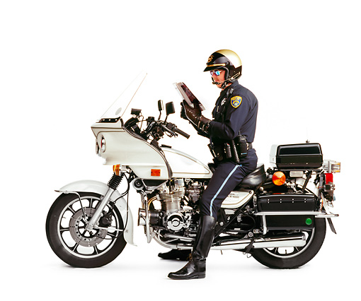 LAW 01 RK0018 01 © Kimball Stock Policeman On Motorcycle With Scanner