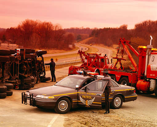 LAW 01 RK0006 07 © Kimball Stock 1994 Ford Crown Victoria Ohio State Highway Patrol At Accident Scene
