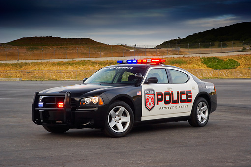 LAW 01 RK0025 01 © Kimball Stock 2007 Dodge Charger Police Package 3/4 Front View On Pavement