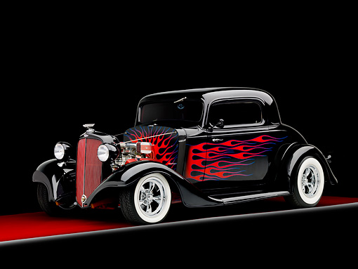 AUT 26 BK0009 02 © Kimball Stock 1933 Chevrolet Mercury CC Coupe Hot Rod Black With Red Flames 3/4 Front View Studio