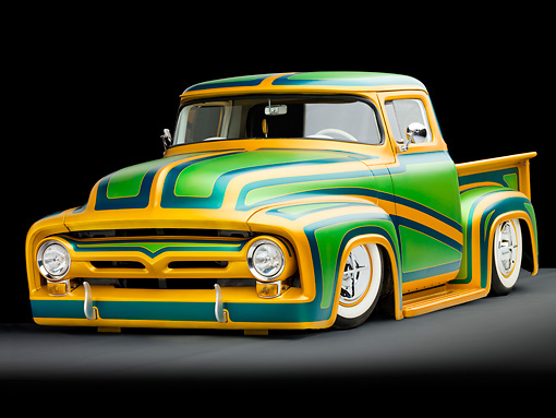 AUT 14 BK0024 02 © Kimball Stock 1956 Ford F-100 Pickup Truck Custom Green And Gold 3/4 Front View Studio