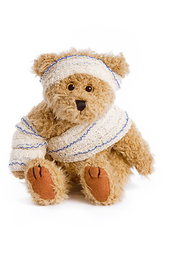 TED 01 JE0001 01 © Kimball Stock Bandaged Teddy Bear Sitting On White Seamless