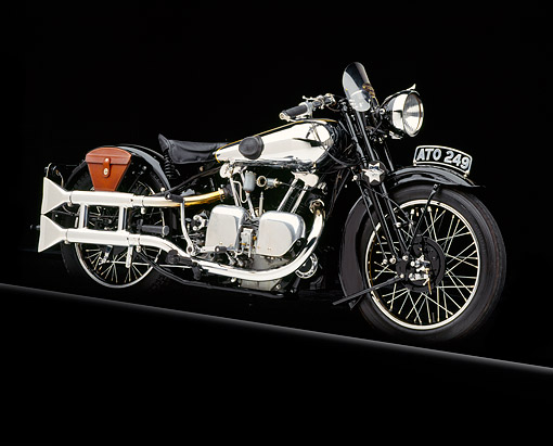 MOT 01 RK0088 02 © Kimball Stock 1934 Brough Superior SS-100 3/4 Front View Studio