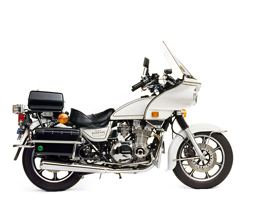 1992 kawasaki police kz1000 police motorcycle profile view on