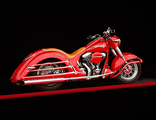 MOT 01 RK0145 06 © Kimball Stock 1992 Harley Davidson Bob Dron Heritage Royale Red 3/4 Rear View On Red Line Studio