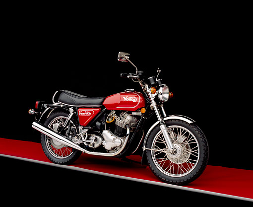 MOT 01 RK0374 03 © Kimball Stock 1975 Norton MK3 850 Roadster Red 3/4 Front View On Red Floor Gray Line Studio