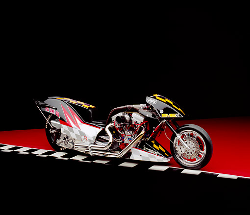 MOT 01 RK0508 02 © Kimball Stock 2003 Red Line Top Fuel Motorcycle Black 3/4 Side View On Checkered Line Red Floor Studio