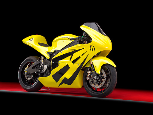 MOT 01 RK0782 01 © Kimball Stock 2012 Lightning El Superbike Yellow 3/4 Side View In Studio