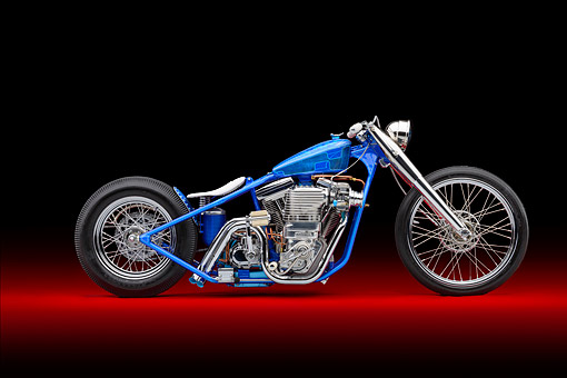 MOT 01 RK0805 01 © Kimball Stock 1995 Harley-Davidson Loose Cannon Fab Blown Custom Motorcycle Blue Profile View In Studio