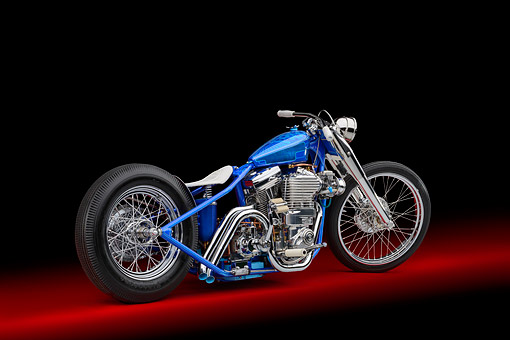 MOT 01 RK0807 01 © Kimball Stock 1995 Harley-Davidson Loose Cannon Fab Blown Custom Motorcycle Blue 3/4 Rear View In Studio