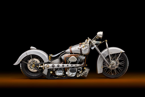 MOT 01 RK0812 01 © Kimball Stock 2002 Harley-Davidson Loose Cannon Fab Softail Motorcycle Metal Profile View In Studio