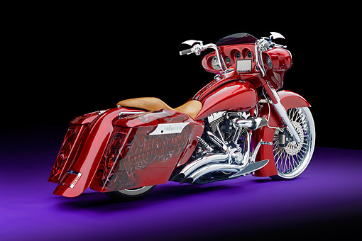 MOT 01 RK0838 01 © Kimball Stock 2006 Harley-Davidson Road King Custom Candy Apple Red 3/4 Rear View In Studio