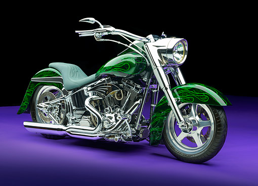 MOT 01 RK0839 01 © Kimball Stock 2002 Harley-Davidson Fat Boy Backroads Custom Cycles Green 3/4 Front View In Studio