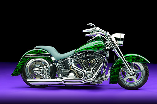 MOT 01 RK0840 01 © Kimball Stock 2002 Harley-Davidson Fat Boy Backroads Custom Cycles Green Profile View In Studio