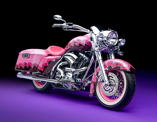 MOT 01 RK0842 01 © Kimball Stock 2007 Harley-Davidson Road King Custom Backroads Custom Cycles Pink 3/4 Front View In Studio
