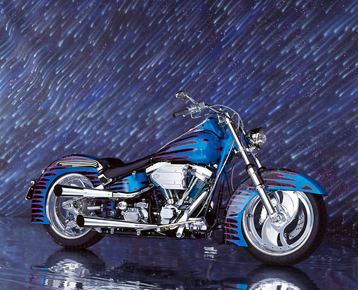 MOT 01 RK0001 09 © Kimball Stock 1995 Blue Harley Side View On Mylar Floor Showering Stars Background