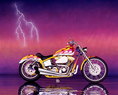 MOT 01 RK0002 06 © Kimball Stock 1995 Pink And Yellow Harley Davidson Profile Mylar Floor Lightning Background