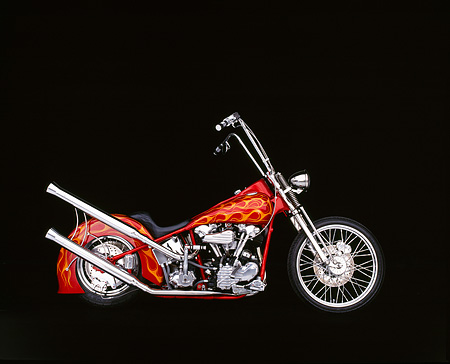 MOT 01 RK0005 04 © Kimball Stock 1941 Harley Davidson  Knucklehead Red With Flames Profile Studio