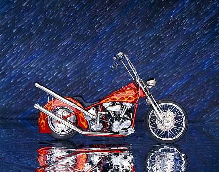 MOT 01 RK0006 04 © Kimball Stock 1941 Hareley Davidson Knucklehead Red With Flames Profile On Mylar Showering Stars