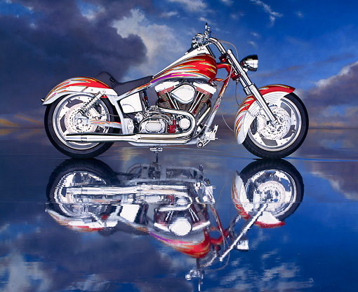 MOT 01 RK0013 02 © Kimball Stock Custom Harley-Davidson Candy Red And Granite Profile On Mylar Floor Gray Clouds