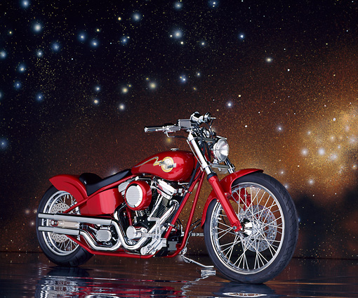 MOT 01 RK0046 03 © Kimball Stock Red Rigid Custom Bike 3/4 Front View On Glossy Floor Golden Starry Night Background