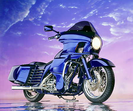 MOT 01 RK0085 21 © Kimball Stock 1985 Blue FXRP Harley Davidson 1340cc Big Twin, 3/4 front on mylar with purple sky background