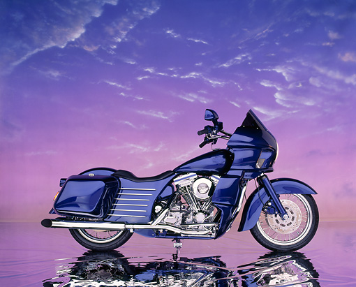 MOT 01 RK0087 10 © Kimball Stock 1985 FXRP Harley Davidson Blue 1340cc Big Twin Profile On Mylar Floor Studio