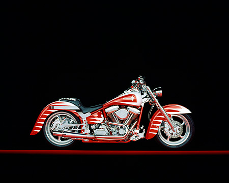 MOT 01 RK0103 02 © Kimball Stock 1995 Harley Davidson Red And White Profile On Red Line Studio