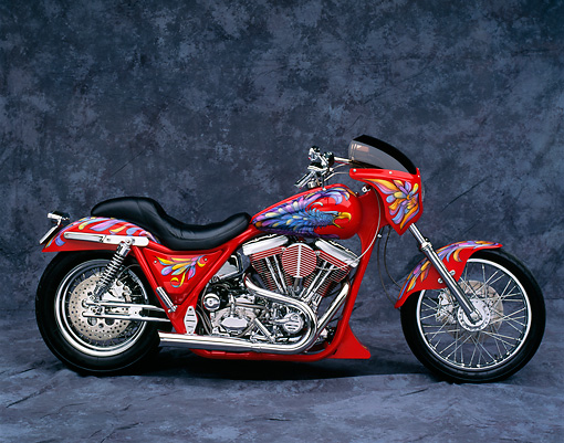 MOT 01 RK0124 05 © Kimball Stock Harley-Davidson Red With Eagle Graphic Profile View Gray Mottled Background Studio