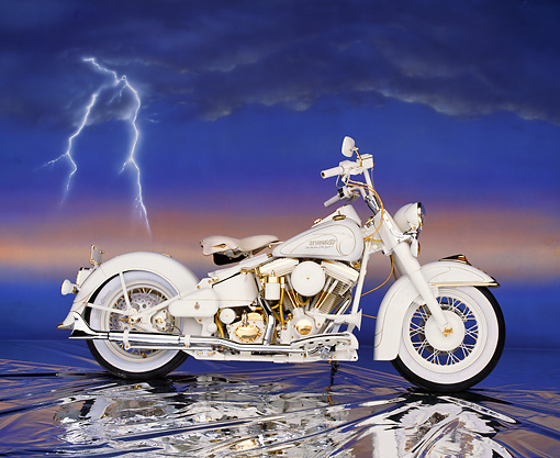 MOT 01 RK0126 03 © Kimball Stock Custom Chrome 50th Anniversary Sturgis White Side View On Mylar Floor Lightning
