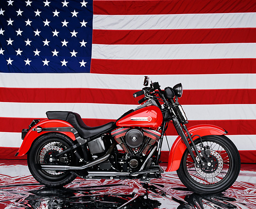 MOT 01 RK0142 07 © Kimball Stock 1991 Harley-Davidson Springer Red Profile View American Flag