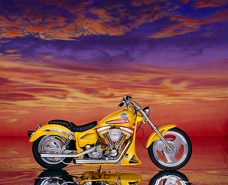 MOT 01 RK0174 07 © Kimball Stock 1985 Custom Chrome Prudhomme FXR Pearl Yellow Profile On Mylar Floor Sunset Clouds