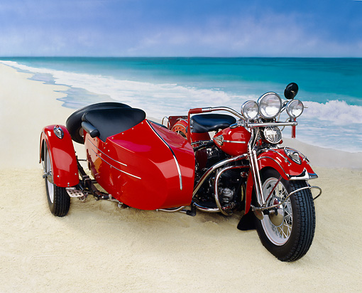 MOT 01 RK0177 09 © Kimball Stock 1946 Flathead With Sidecar Red 3/4 Front View Beach Background