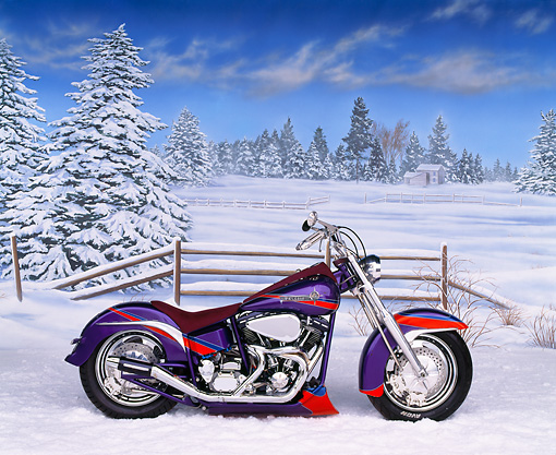 MOT 01 RK0200 02 © Kimball Stock 1988 Custom Harley-Davidson Purple With Stripes Profile View On Snow
