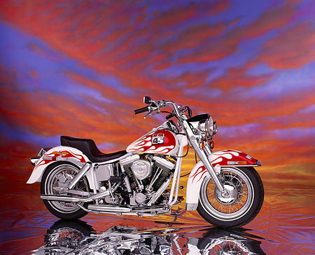 MOT 01 RK0212 01 © Kimball Stock 1992 Custom Chrome Hot Rod 45th Anniversary White Red Flames Profile  Sunset Clouds Studio