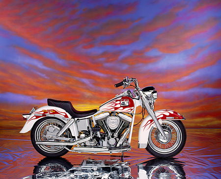 MOT 01 RK0212 04 © Kimball Stock 1992 Custom Chrome Hot Rod 45th Anniversary White Red Flames Profile  Sunset Clouds Studio